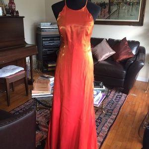 Metallic Lurex Dress Orange Evening Dress 1970 80s